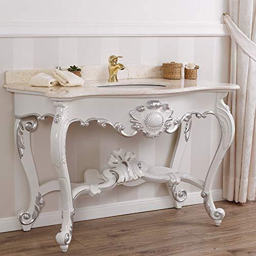 Simone Guarracino Console Meuble Salle de Bain Luigi Filippo Style Baroque Moderne Blanc laqué et Feuille Argent marbre crème