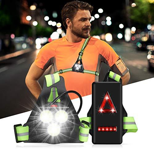 DAWINSIE Sports Lauflicht, Wiederaufladbare USB LED Lauflampe,Brust Lampe Wasserdicht Outdoor Sport, 1000 Lumen Lauflampe zum Joggen, Angeln, Campen Kinder und mehr (Green)