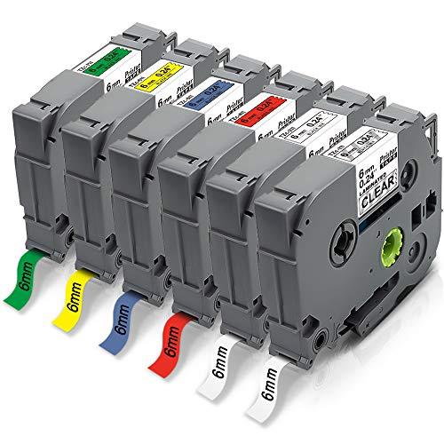 6x Pristar 6mm Kompatible für Brother TZe-111 TZe-211 TZe-411 TZe-511 TZe-611 TZe-711 Tz Schriftband Laminated für Brother PT-H107B PT-H105 PT-P300BT H101 D210 D200 H100 H110 PT-P710BT E110 E100 D400