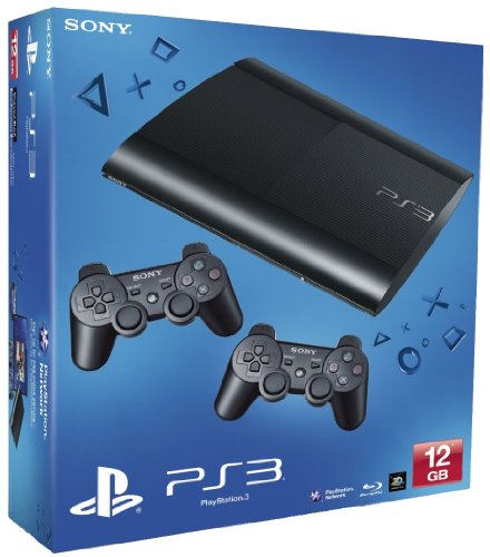 SONY PS3 12GB SUPER SLIM BLACK WITH 2 DUALSHOCKS UK