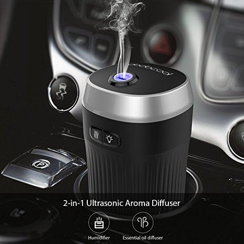 dodocool Ambientador Humidificador Coche, Ultrasónico Aromaterapia Portatil, 7 Color LED, Diseñado para...