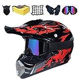 Casco da Motocross Set, Nero e Rosso Unisex Adulto Casco Moto Cross Kit con Guanti/Occhiali/Face Mask/Rete Elastica Moto, Downhill Caschi Moto Offroad Enduro Sport con Fodera Rimovibile. (M)