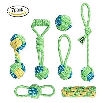 ZEWOO 7 PCS Jouets Tricot à Pet Rope Chew Toy Teaser Candy Color MolarTeether pour Chiens et Chats Accessoires pour Nettoyage de Dents Molaires
