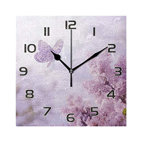 One Bear Beautiful Butterfly Wall Clock, Vintage Purple Lavender Flowers Silent Battery Operated Non Ticking Square Clocks for Kitchen Office School Home Art Decor 7.9 Inch
