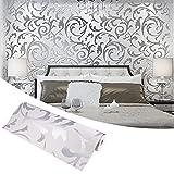 Rollos de papel pintado de lujo para salón, color gris plata, rollos de papel pintado 3D minimalistas para la casa, el dormitorio, la decoración de la pared del salón, 5 x 5 x 53 cm (gris plata)