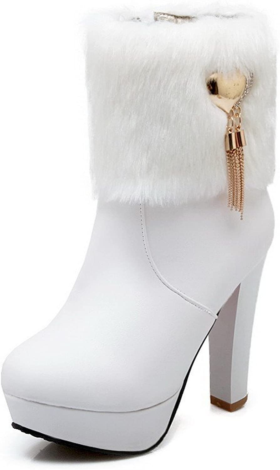 AmoonyFashion Women's High-Heels Soft Material Round Closed Toe Solid Boots with Adornment