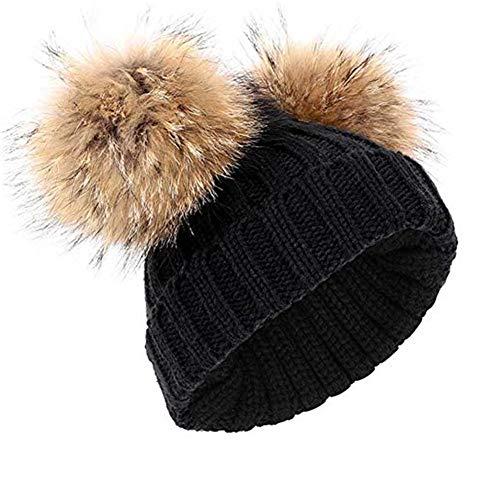 feifanshop Damen Warmem Winter Mütze Beanie Strickmütze mit Fellbommel Fell-Bommel Kunstfell Winter-Mütze, Bommelmütze (schwarz)