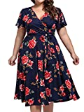 Plus Size Cocktail Dresses,Kissmay Plus Size Fit and Flare Dresses for Women Slim Fitting Elasticity Clothing Ruched Flows Sweet Dress for Casual Short-Sleevede 1950s Lavender Dress Navy Red XXX-Large