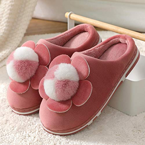 B/H Zapatillas de Estar en Casa Mujer,Zapatillas de algodón, los Estudiantes se Espesan para Mantenerse Calientes, Muebles de Interior para el hogar-Cuero Red_38-39
