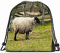 羊の首輪動物野生生物農業その他の巾着バックパックバッグサックパックジムサックスポーツビーチデイパック女の子のための男性と女性ティーンダンスバッグサイクリングハイキングチームトレーニング
