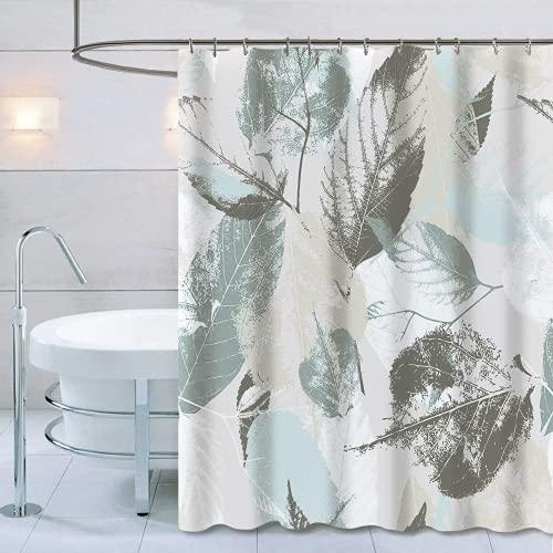 Duschvorhang mit Metallhaken, 182,9 x cm dick, strapazierfähiger Stoff, Badezimmer-Duschvorhang-Set Haken, kein chemischer Geruch, rostwiderstandsfähige Ösen, moderne Heimdekorationen, mintgraue Blätter