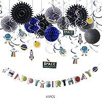 デコレーションパーティー 12個宇宙空間キッズバースデーデコレーションスペース宇宙飛行士スパイラルシーリングハンガーデコレーションスペースアドベンチャーパーティー
