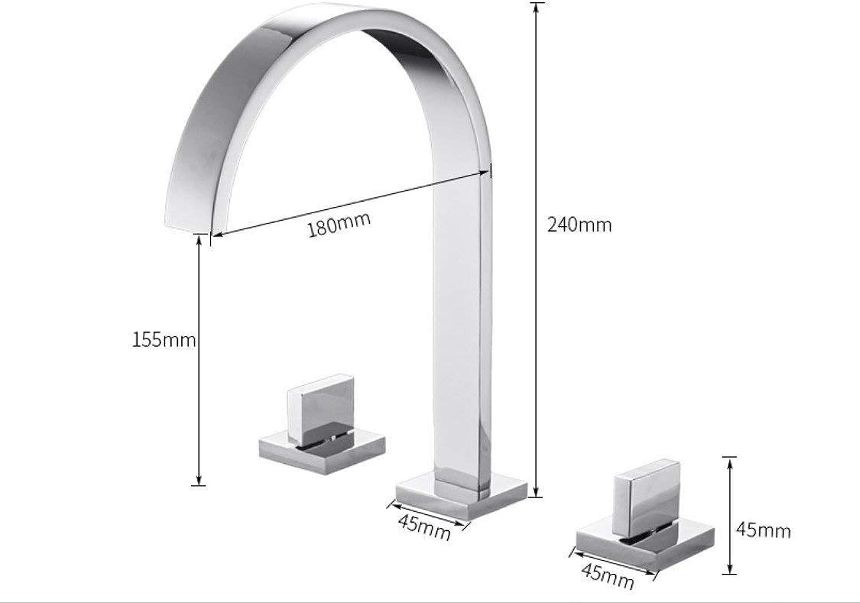 ROTOOY Wasserhhne Waschtischarmaturen Messing poliert Chrom Deck Montiert Platz Waschbecken Wasserhhne Doppelgriff hei und kalt Wasserhhne