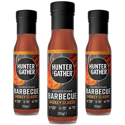 Hunter & Gather Ungesüßte Natürliche BBQ-Sauce 3 x 250g | Keto, Paleo, Low Carb | Frei von Zucker und Süßungsmitteln