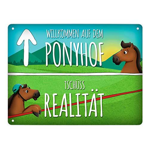 trendaffe - Metallschild XL mit Pferde Motiv und Spruch: Willkommen auf dem Ponyhof