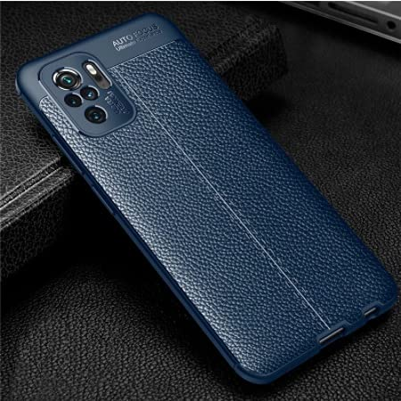 A.S. PLATINUM Luxury Leather Pattern TPU Shockproof Back Cover case for Redmi Note 10/Note 10s (Blue)