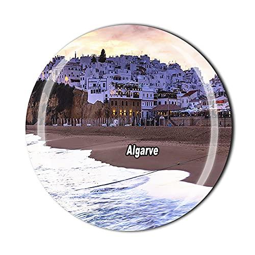 Imán para nevera 3D Algarve de Portugal con imán de cristal de recuerdo de cristal, colección de recuerdos, regalo para el hogar y la cocina