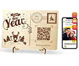 Happy New Year Wooden Card To Deliver Your Video Greetings To Loved Ones, Handmade Greeting Cards, Real Personalized Wood Postcard Xmas Gift by QR.Gift