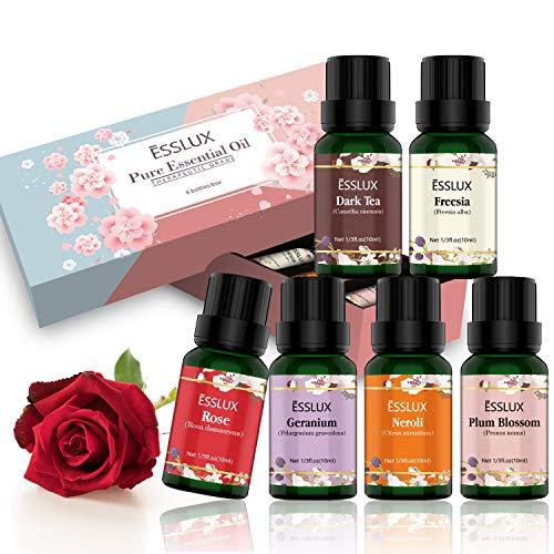 ESSLUX Floral Essential Oils, Pure Aromatherapy Essential Oils Gift Set for Diffuser & Massage, Dark Tea, Rose, Geranium, Freesia, Neroli, Plum Blossom Essential Oil, 6x10ml
