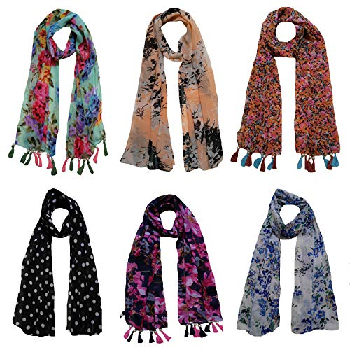 Letz Dezine ™ Women's Printed Poly Cotton Multicolored Scarf and Stoles with Pearl Tassels - Set of 6 (LDS10111)