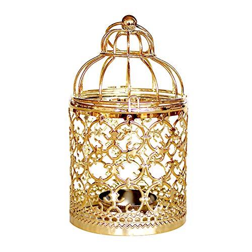 Demiawaking Portacandele da Appendere Porta Candele Gabbia Uccelli Candeliere Lanterna Porta Candele Decorazioni Matrimonio (Oro)