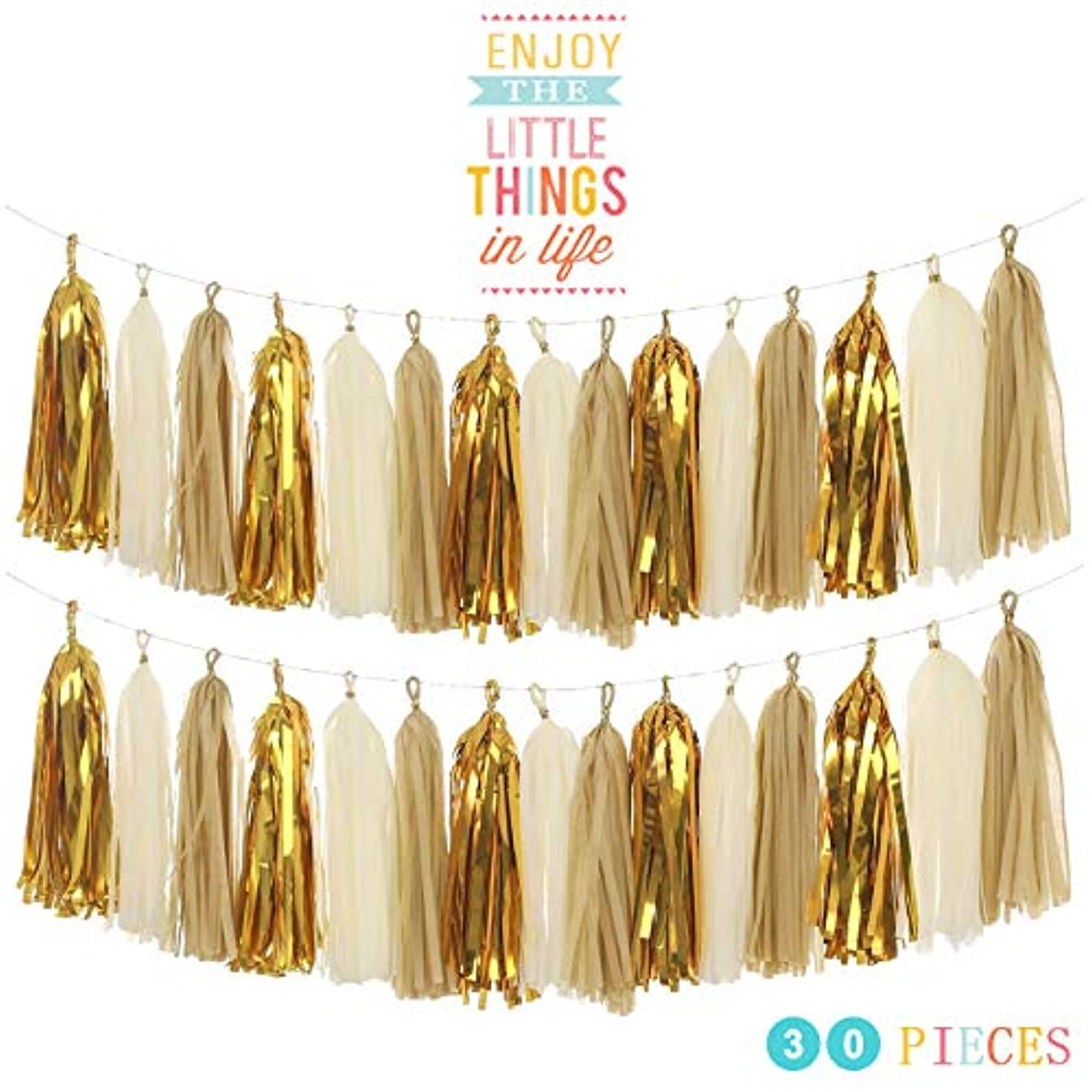 MerryNine Tissue Tassels Garlands, 30PCS Tassels, 14 Inch Long Tassels, for Wedding, Baby Shower, Event & Party Supplies Decoration (Tan/Ivory/Gold Set)