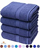 Bath Towels, Pack of 4, Egyptian Cotton Towel Set, 80 X 140 cm Highly Absorbent 500gsm (Grey)