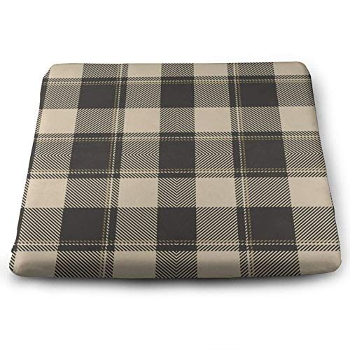 Buffalo Check Plaid Brown Rustic Christmas Chair Seat Cushions Pads Memory Foam Office Dining Kitchen Soft Chair Cushion Set Of 4 for Pressure Relief, Wheelchairs, Patio, Cafe, Garden, Indoor, Non Sli