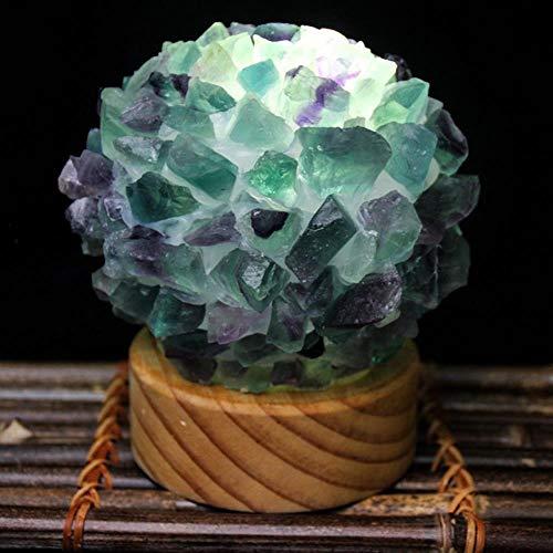 Lámpara de piedras preciosas de cristal de cuarzo natural Cuarzo rosa Diy Luz nocturna mágica Lámpara de mesa Led Usb Curación de piedra de cristal Decoración del hogar, Fluorita