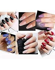 Business Ventures 24 Pcs/Set Natural Coffin Reusable Artificial Nails with Nail Glue