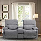 B BAIJIAWEI Double Reclining Loveseat - Fabric Home Theater Seating with Console - Glider Reclining Couch for Living Room, Office (Fabric- Grey)