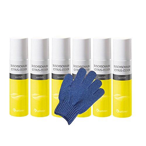 Spitzner Mousse de douche Citrus ceder Paquet économique (6 x 150 ml) avec une gratuits Gant de massage