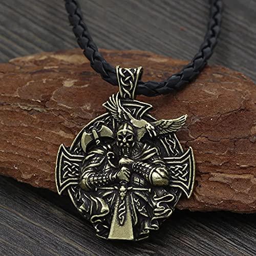 Collar De Ancla Vikingo Odin Amuleto Nórdico Colgante Cruz Cuervo Cadena De Metal, Color Punk Plateado Antiguo Usado para Joyería, Regalos De Joyería para Hombres,Metálico,Leather Rope