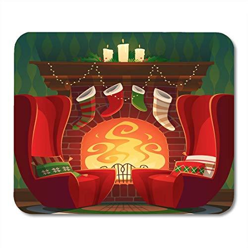 Mauspads Zimmer Roter Cartoon Kamin Weihnachten Santa Stuhl Mauspad für Notebooks, Desktop-Computer Mausmatten, Büromaterial