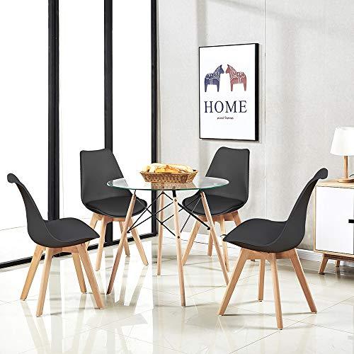 H.J WeDoo Esszimmergruppe Moderner Glastisch Rund Esstisch mit 4 Schwarz Tulip Gepolsterter Stuhl Geeignet für Esszimmer Küche Wohnzimmer