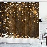 ABAKUHAUS Weihnachten Duschvorhang, Holz & Schneeflocken, Waserdichter Stoff mit 12 Haken Set Dekorativer Farbfest Bakterie Resistet, 175 x 180 cm, Braun Weiß