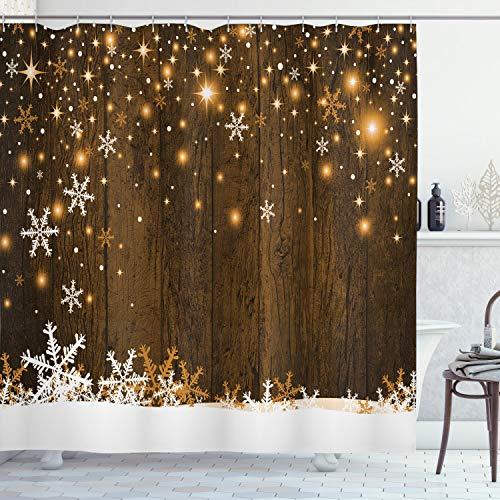 ABAKUHAUS Weihnachten Duschvorhang, Holz & Schneeflocken, Waserdichter Stoff mit 12 Haken Set Dekorativer Farbfest Bakterie Resistet, 175 x 240 cm, Braun Weiß