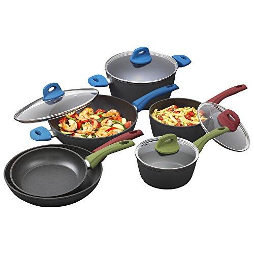 Bialetti Simply 10-Piece Cookware Set, Italian Nonstick Multicolored