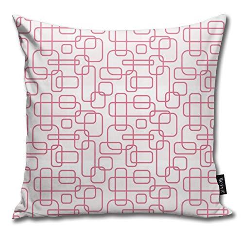 Rasyko - Funda de cojín rectangular redondeada, color rosa sobre blanco y rosa