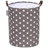 Sea Team - Cesto de lavandería con diseño Estrellas, cesto lavandería de Tela de Lona, contenedor Almacenamiento Plegable con Asas Cuero sintético y Cierre cordón, 45 x 35 cm, Interior Impermeable