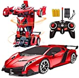 Remote Control Car Robot _RC Hobby Toy Cars 2. 4GHz, 1/18 Scale Electric Model Vehicle for Kids and Toddler and Boys and Girls,with LED Lightning, Kids Gifts Red