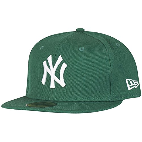 New Era Erwachsene Baseball Cap Mütze Mlb Basic New York Yankees 59Fifty Fitted,10004022,Grün, 6 7/8
