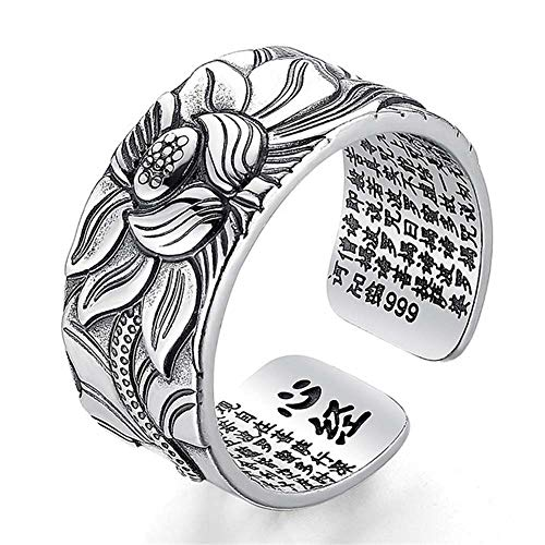 ZUHANGMENG Anillo abierto de flor de loto, plata 999 100% real, joyería retro, tamaño libre, anillo budista corazón sutra, anillos de regalo para hombres y mujeres