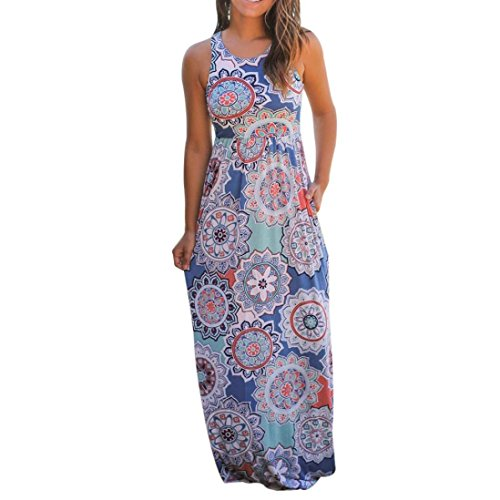 Bekleidung Longra❤️❤️ Keid Damen, Frauen Ärmelloses Sommerkleid Strandkleider Blumenmuster lang Maxi Kleid mit Taschen (M, Multicolor)