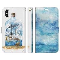 ブレインズ iPhone 11 Pro 手帳型 ケース カバー 海ボトル モーク クジラ クラゲ 海 船 女の子 空 イラスト デザイナーズ かわいい