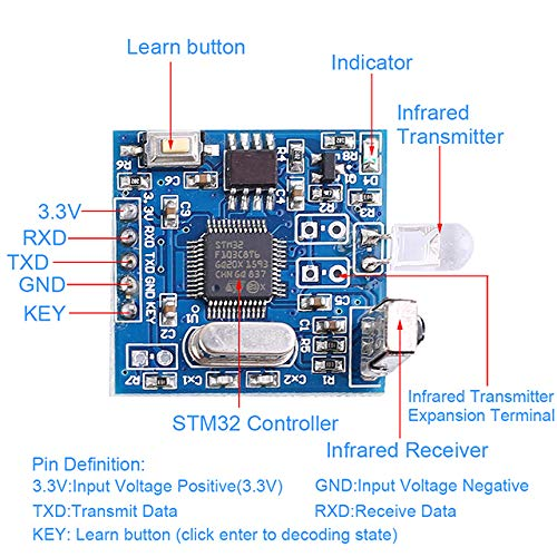 Allgemeines Infrarot-Dekodierungsmodul UART Controller IR Remote Copyer Support Air Conditioning