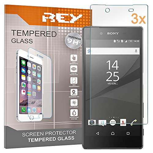 REY 3X Protector de Pantalla para Sony Xperia Z5, Cristal Vidrio Templado Premium