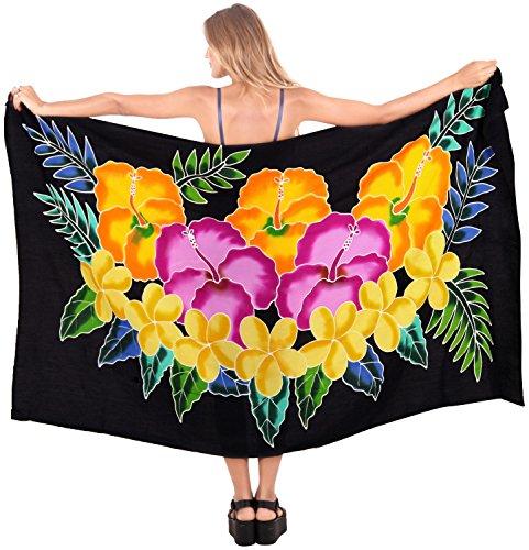 LA LEELA Maillot de Bain Beachwear Wrap Coverup Femmes Sarong Piscine Station vêtements de Maillot de Bain Maillot de Bain Multicolore Usure Halloween Noir_M795