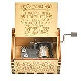 WOWOSS Scatola Musicale in Legno Regalo per Festa Compleanno Natale, Carillon in Legno Vintage Inciso al Laser