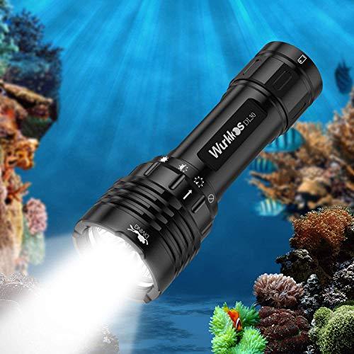 Wurkkos DL30 Tauchlampe, 3600 Lumen Tauchen Taschenlampe Wiederaufladbar, IPX8 Wasserdicht, 3* Samsung LH351D LED Unterwasser Taschenlampe mit 1 * 4800mAh 21700 Akkus und Ladegerät